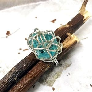 BOGO💫🧞♂️Wire Wrapped Blue Sea Glass Ring🧞♂️